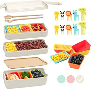 Bento Box for Kids with Silicone Cupcake Baking Cups & Food Picks for Kids,3-In-1 Compartment Lunch Box, Wheat Straw, Eco-Friendly Bento Lunch Box with Dividers Meal Prep Containers for Kids (Beige)