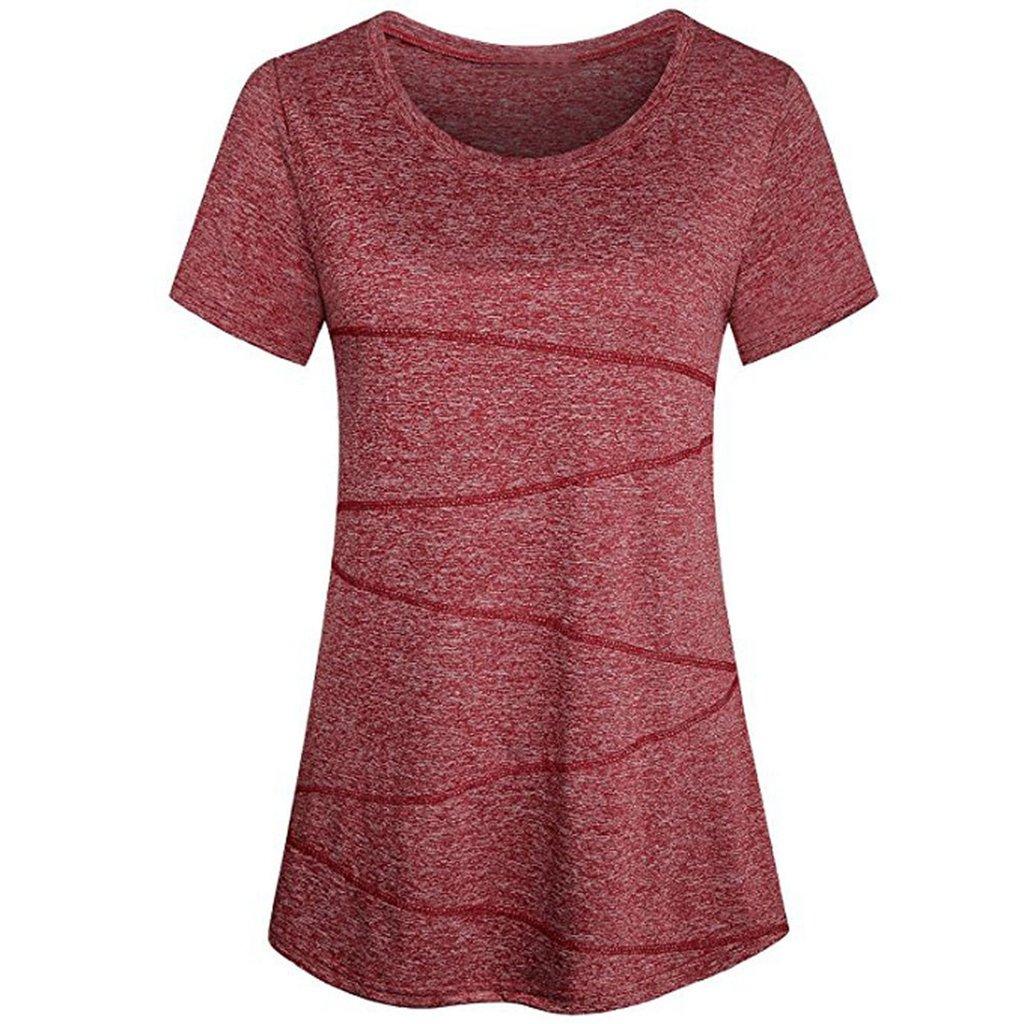Summer Shirt for Women Casual Yoga T-Shirt Running Tops Workout Activewear Blouse chaofanjiancai (XL, Red)