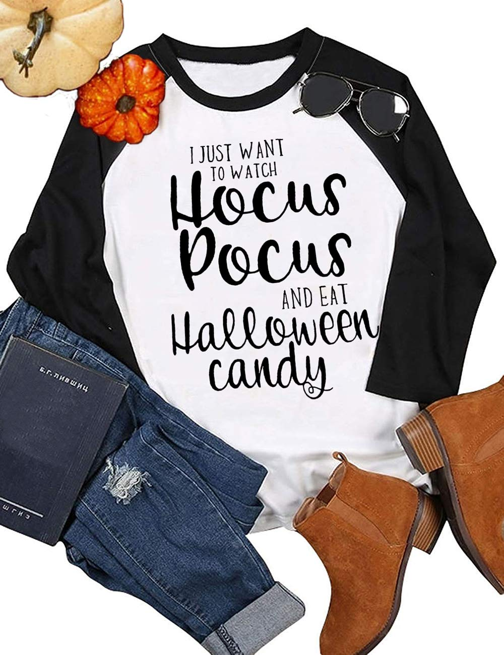 CaidynyA Bunch of Hocus Pocus Sanderson Sisters Halloween Costume T Shirt Womens Long Sleeve Splicing Top(Halloween Candy,L)