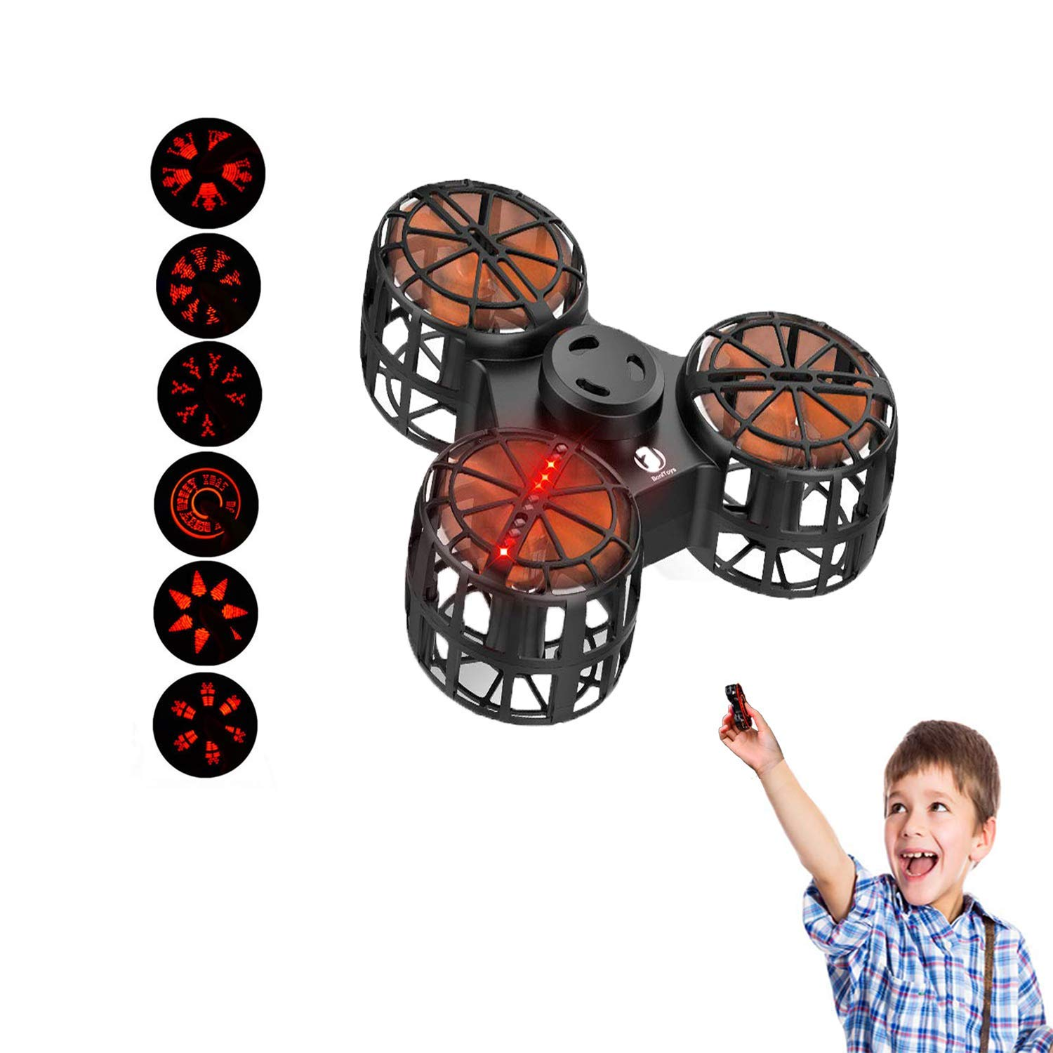 EliveBuy Anti-Anxiety Fidget Toy, Flying Fidget Spinner, Mini Drone with 6 LED Pattern, USB Rechargeable, Children's Day Gift by EliveBuy
