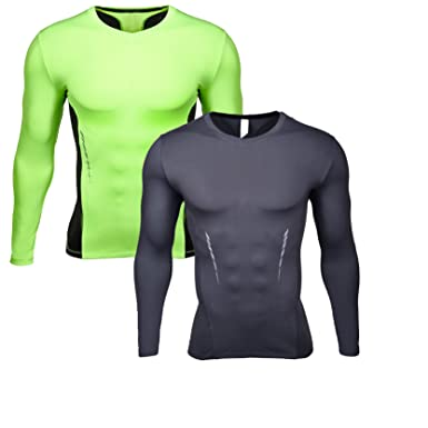 55aeaae8bb96a SEVENWELL Mens Sports Light-Weight Compression Base Layer Shirts Long Sleeve  Tops 2 Pack S