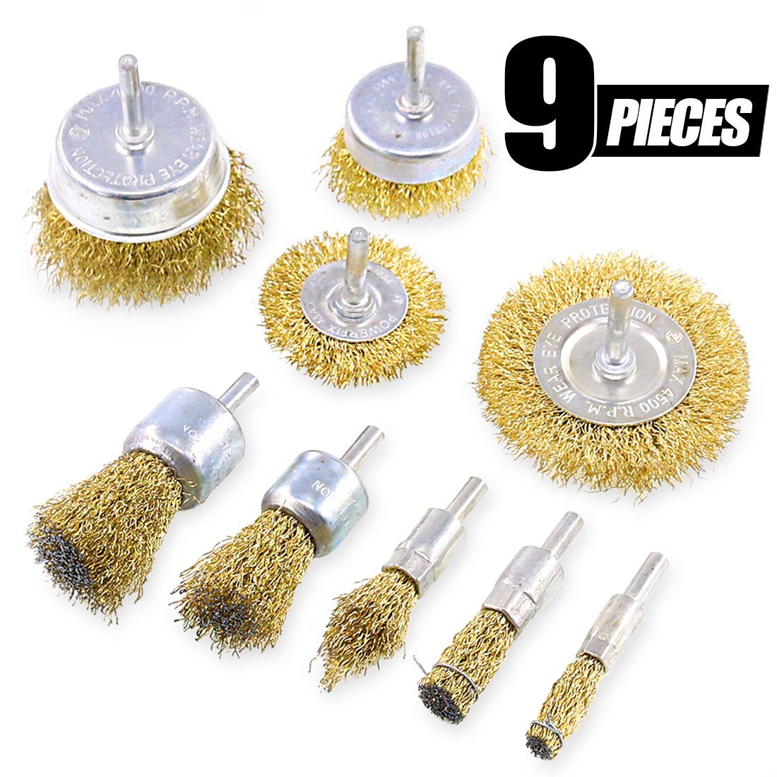 Swpeet 9Pcs Brass Coated Wire Brush Wheel & Cup Brush Set with 1/4-Inch Shank, 9 Sizes Coated Wire Drill Brush Set Perfect For Removal of Rust/Corrosion/Paint - Reduced Wire Breakage and Longer Life by Swpeet