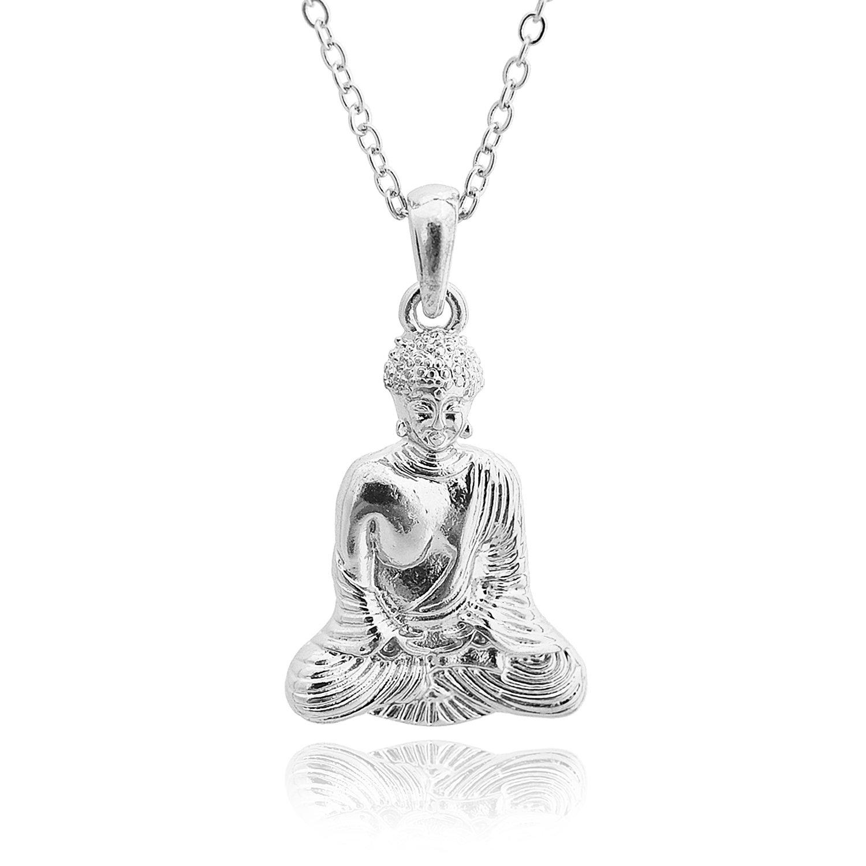 Spinningdaisy serenity now meditating buddha necklace silver spinningdaisy serenity now meditating buddha necklace silver plated amazon jewelry aloadofball Images