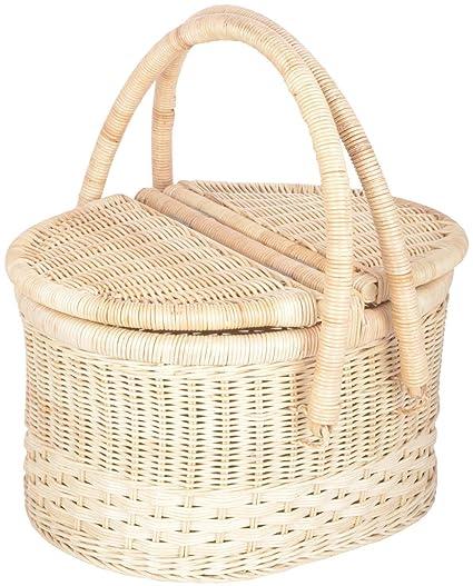 Agus Cane Wire Picnic Basket (15 inch x 11 inch x 16 inch, Beige)
