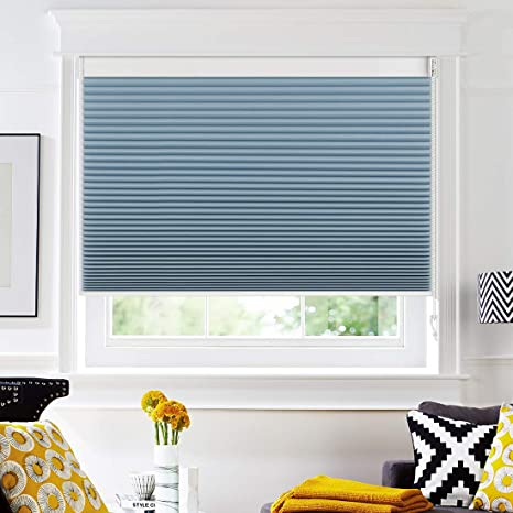 Keego Blackout Cellular Shades Custom Size Window Blinds Blue 36 W X 72 H Corded Room Darkening Honeycomb Blinds Backside In White Home Kitchen