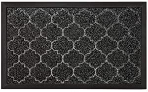 GRIP MASTER Durable All-Natural Tough Rubber Doormats, 29x17 Size, Waterproof Boots Scraper Mats, Commercial Heavy Duty Indoor Outdoor Door Mat for Winter Snow, Low-Profile Easy Clean, Gray Quatrefoil