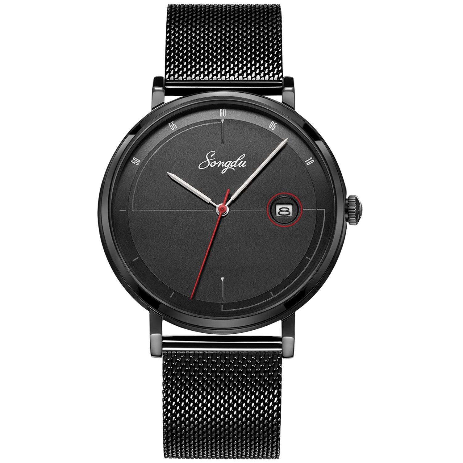 SONGDU Men's Fashion Date Slim Analog Quartz Watches with Stainless Steel Mesh Band (Black)
