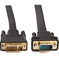CableDeconn Active DVI-D Dual Link 24+1 Male to VGA Male Video with Flat Cable Adapter Converter 2M