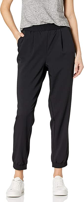 Amazon Brand - Daily Ritual Women's Fluid Stretch Woven Twill Jogger Pant with Ribbed Cuff