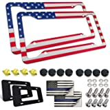 Aootf USA Flag License Plate Frame- American Patriotic Auto Car Tag Holder Cover, 2 Pack Novelty Personalized Aluminum Bracke