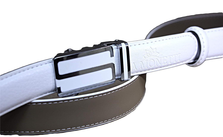 Cintura donna vera pelle con fibbia AUTOMATICA larghezza 2,5 cm. lunghezza 115 cm MONETTI FIA Cintura in pelle bianca molto facilmente abbreviata