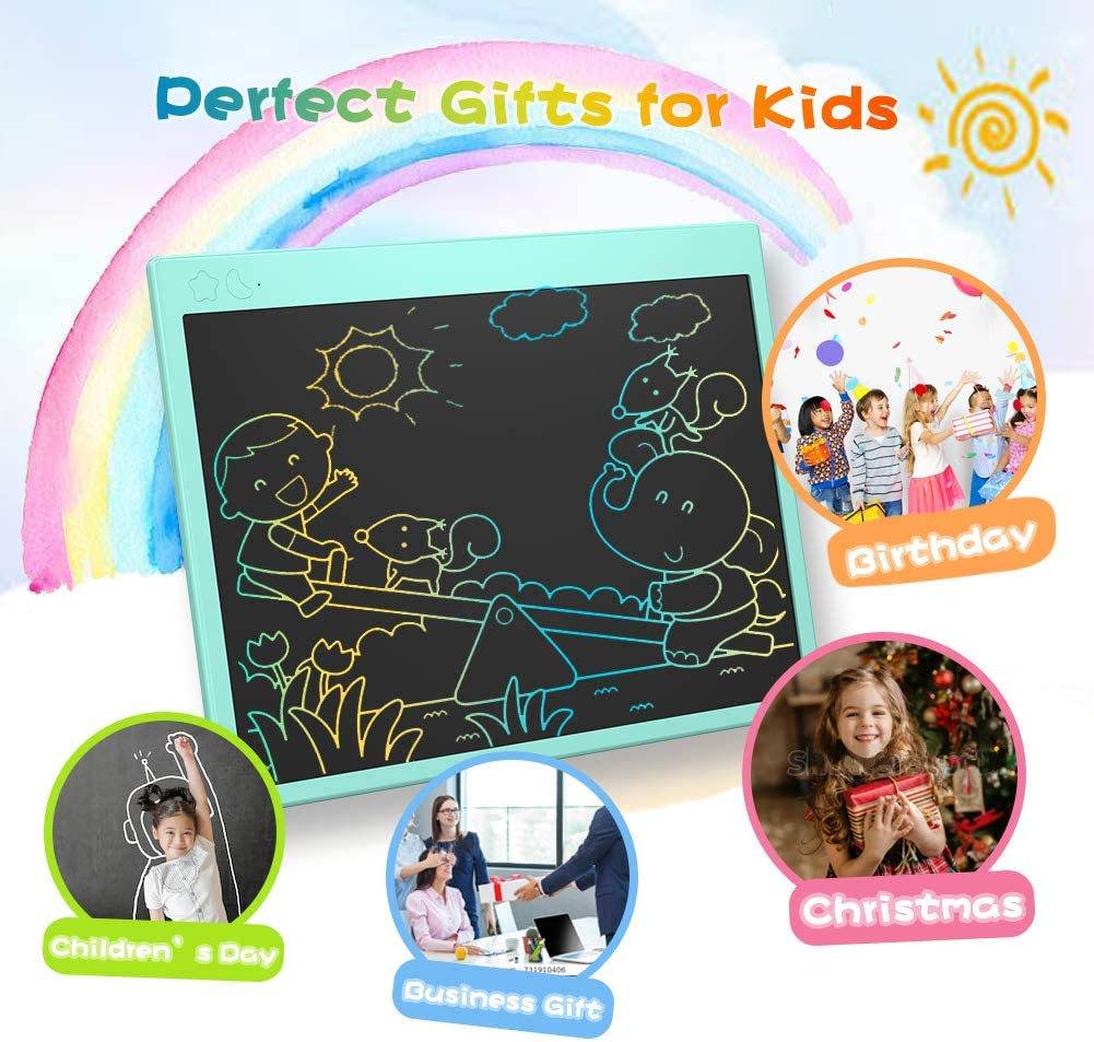 Electronic Drawing Tablet LCD-Writing-Tablet 15 Inch Colorful Toddler Doodle Board Erasable Reusable Electronic Writing Pads Black Educational /& Learning Gifts Toys for 2-6 Years Old Girls Boys