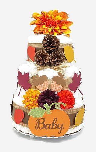 Amazon Fall Baby Diaper Cake Autumn Leaves Baby Pumpkin Shower