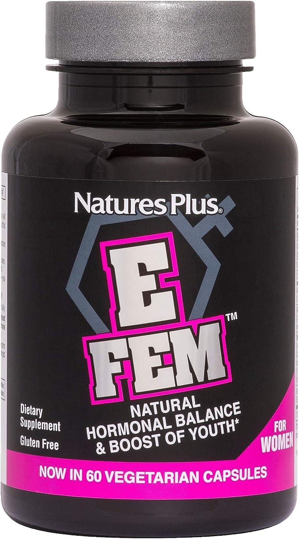 NaturesPlus E FEM – 60 Vegetarian Capsules – for Women – High Potency Natural Hormone Balancing Supplement with Anti-Aging Maca Herbs – Gluten-Free – 30 Servings