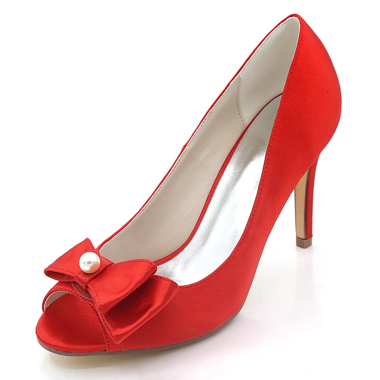 Elobaby Scarpe da Sposa Sposa Sposa Donna Abito Slingback Fashion Satin Silk Spring Peep Toe Damigella d'Onore Tacco 9cm | a prezzi accessibili  d19843