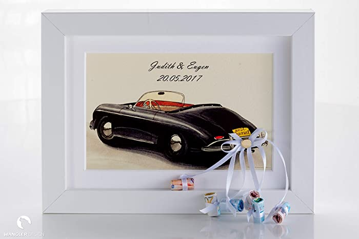 Hochzeitsgeschenk Auto Im Bilderrahmen Geldgeschenk Personalisierbar