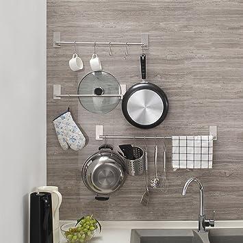 Toalleros de Barra adhesivo Fuerte alta calidad Sin Taladrar 55 CM para paños de cocina o toallas de baño IWON: Amazon.es: Hogar