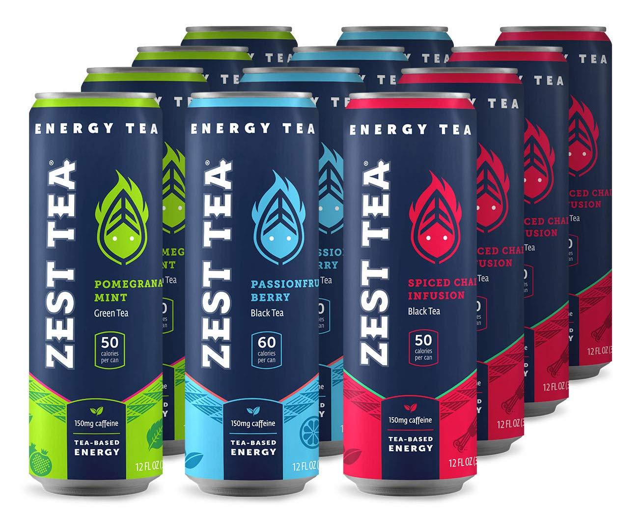 Zest Tea Energy Iced Tea, High Caffeine Low Sugar Blend Natural & Healthy Black Coffee Substitute, 150 mg Caffeine per 12 Oz Can, Trifecta (Variety Pack), 12 Pack