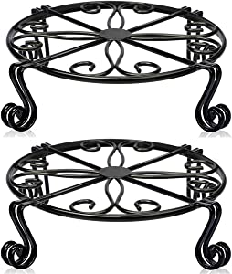 2 Pack Black Plant Stand for Flower Pot Heavy Duty Potted Holder Indoor Outdoor Metal Rustproof Iron Garden Container Round Supports Rack for Planter Bronze (12 x 3.1 Inches-2Packs, Black)