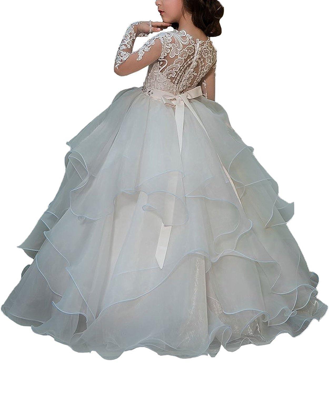 VIPbridal Apliques de encaje de manga larga primeros vestidos de comunión para niñas (10): Amazon.es: Ropa y accesorios