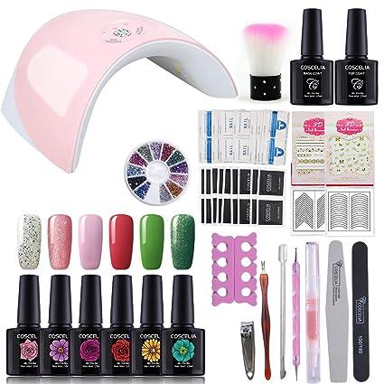 Saint-Acior Kit Uñas de Gel 6 Color Esmalte Semipermanente Gel Uñas 36W Rosa Secador