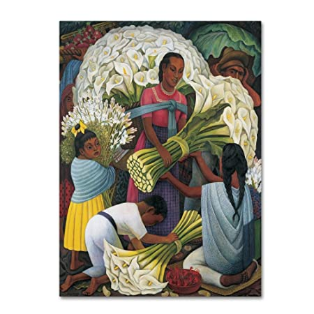The Flower Vendor by Diego Rivera, 18×24-Inch Canvas Wall Art