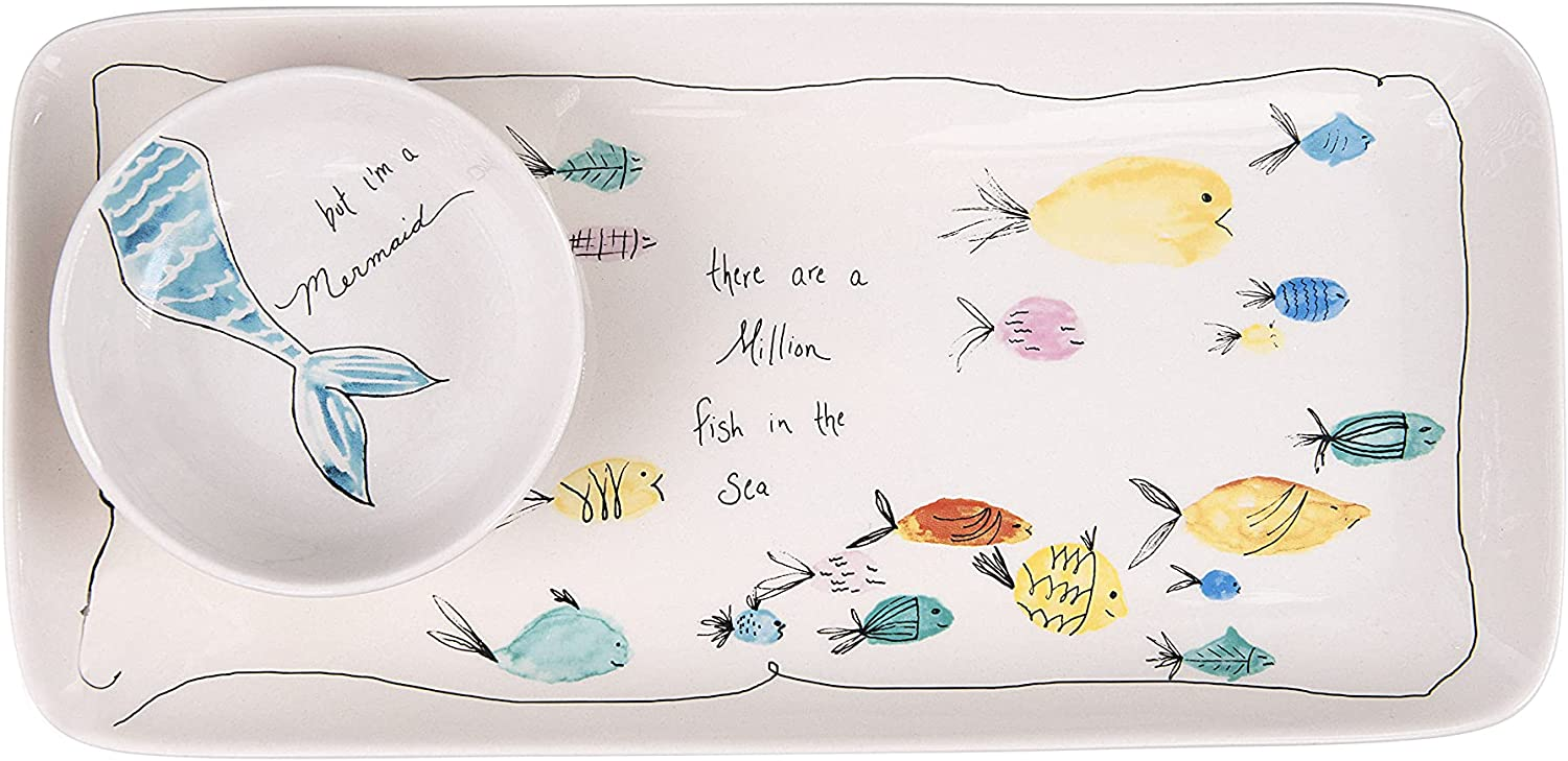Creative Co-Op Rectangle Stoneware Plate with Fish Images and Matching Bowl (Set of 2 Pieces), 11-3/4