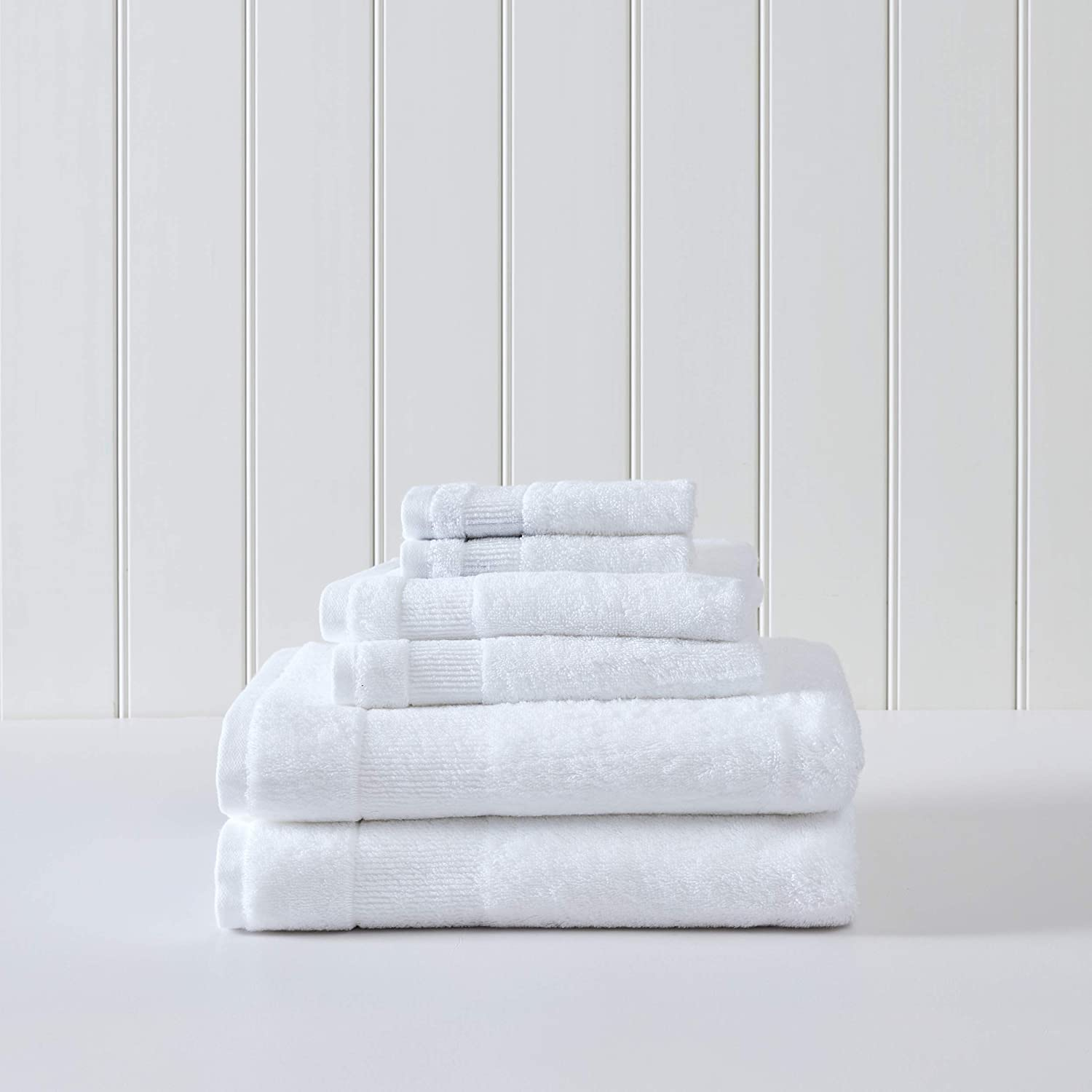 Tommy Bahama | Island Retreat Collection | 6 Piece Towel Set - Decorative Luxury Hotel & Spa Quality Bathroom Linens, Absorbent & Fade Resistant, 6 Piece, White