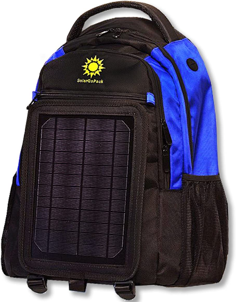 B007UTSI3U SolarGoPack Solar Powered Backpack, Charges Mobile Devices, Take Your Power with You, 12k mAh L-ion Battery, Black & Blue - Stay Charged My Friends 710oazhe4ZL.SL1180_