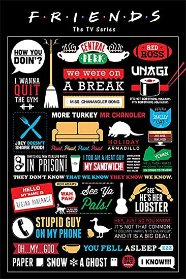 com friends tv show poster print infographic facts