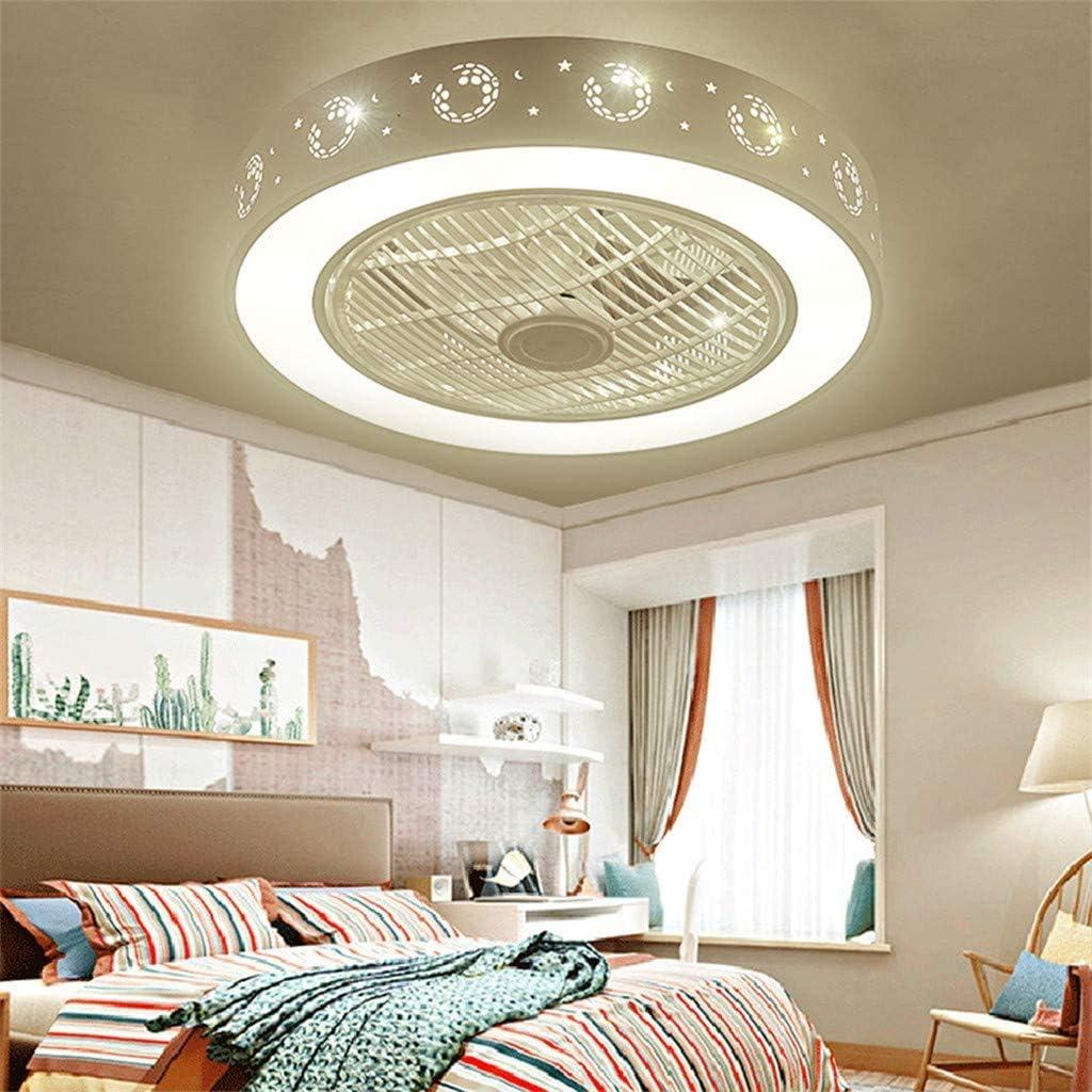 Los ventiladores de techo con iluminación, luces LED de techo ventilador, velocidad regulable, ventilador de techo dormitorio con muting remota de vivero oficina lámpara de niños sala de estar,White