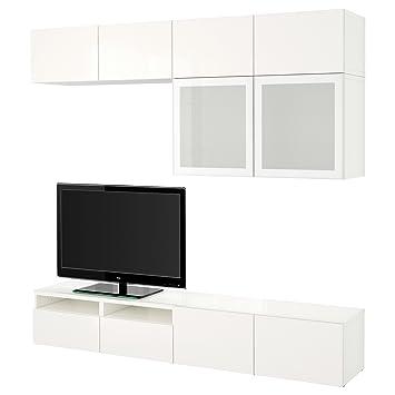 IKEA BESTA TV Aufbewahrungskombination Glastüren Weiß