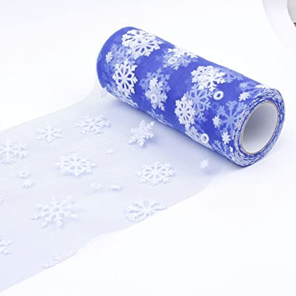 Amazon.com: NUOMI Snowflake Tulle Rolls Organza Spool Christmas Gift Wrap Ribbons, Craft Hobby Fabric, DIY Chair Sashes, Sewing Trim Embellishments 10yards, ...
