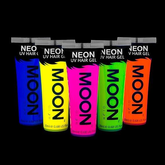 Moon Glow - Gel para el Cabello Neón UV - Juego de 5 de 20 ml - ¡Péinate de punta y brilla!