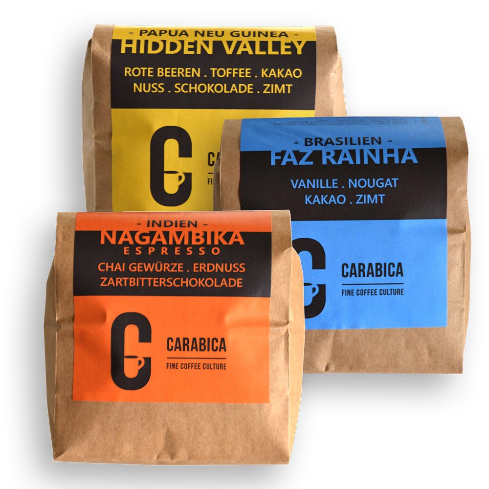 Espresso Bundle (3x 725g) von carabica | handgeröstet & 100% Arabica | kräftige Espressobohnen