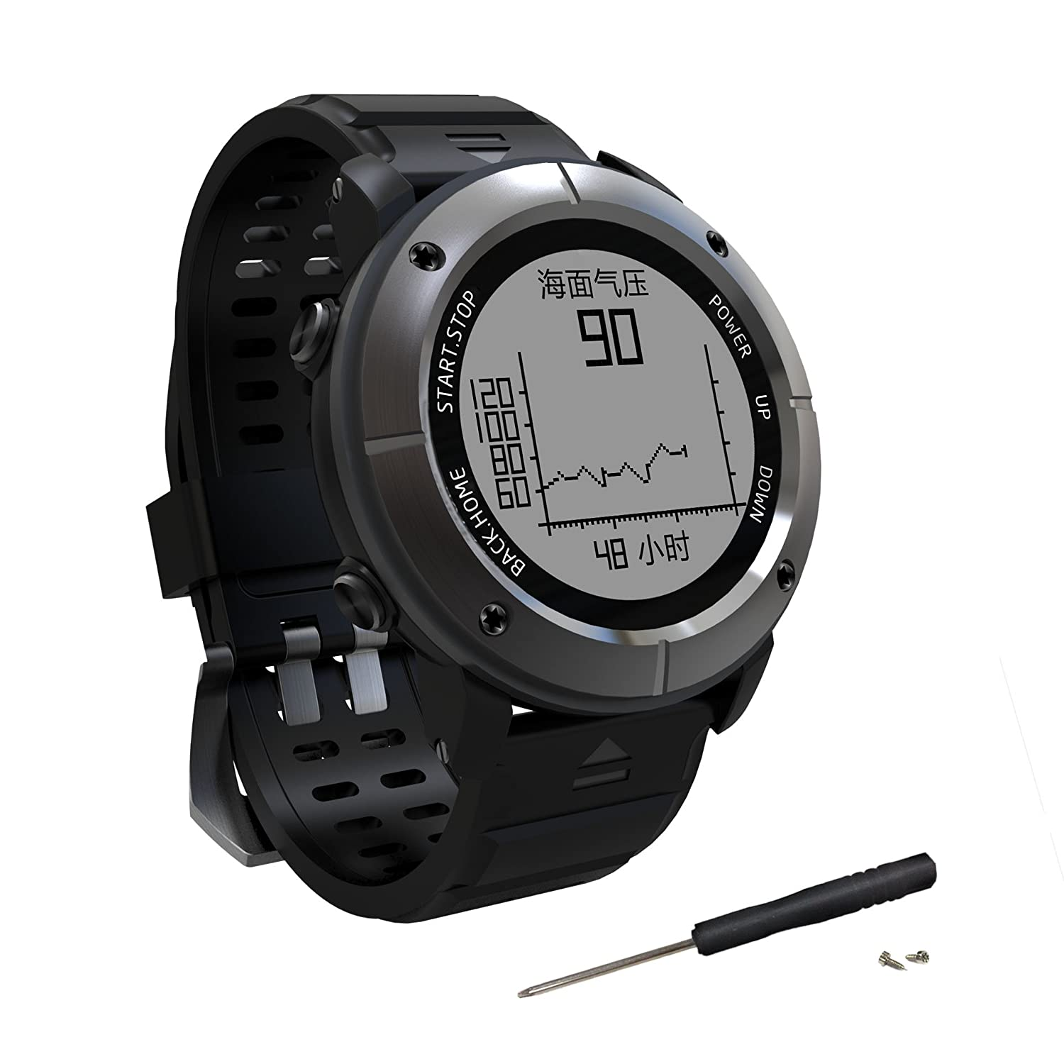GPS Hiking Smart Watch,Adventurer Outdoor Sports Waterproof Watch,Multi-Function Mode,for Tracking Running,Hiking,Heart Rate Monitor,SOS,Compass,Watch ...