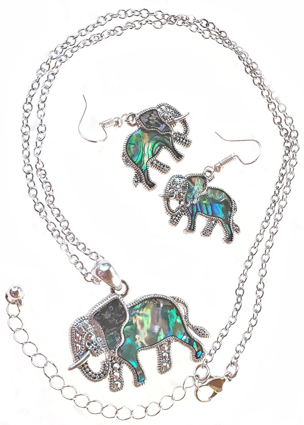 Abalone Chain and Earrings Silver Plated LaceyLady Collections Elephant Pendant