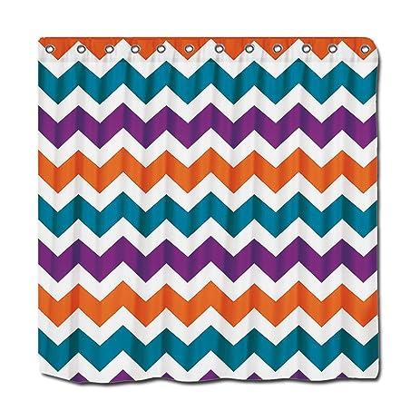 YYT Personalized Shower Curtains Orange Purple Teal Chevron Stripes Curtain 72quot