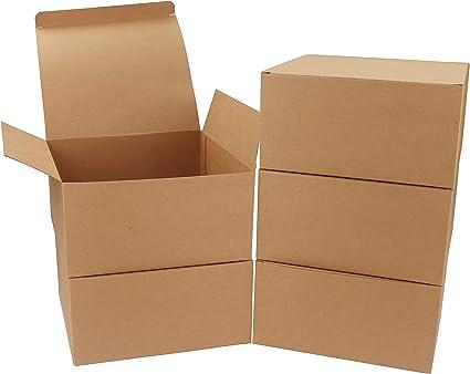 Pack de 10 Cajas kraft Marrón - Cajas Regalo Carton Tamaño 20x20x10cm Cajas Regalos con Tapa para Magdalenas, Manualidades, Damas de Honor Cajas Marrones: Amazon.es: Oficina y papelería