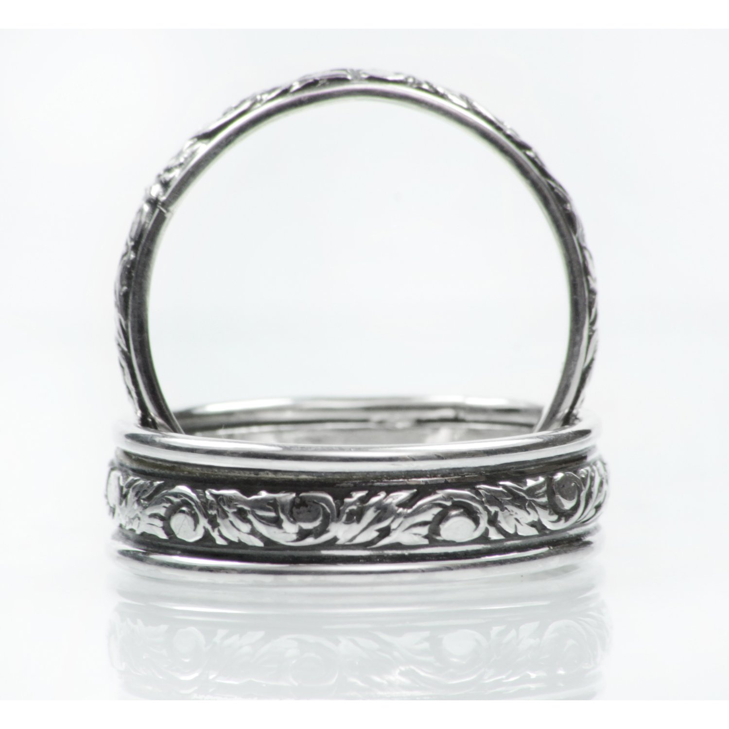 Nature Inspired Wedding Band Set, Sterling Silver Narrow and Wide Bands, Unisex Commitment Rings