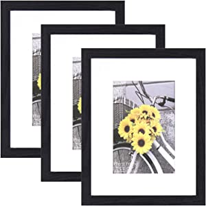 ATOBART Black 8x10 Picture Frame Set of 3 with High Definition Glass,Multi Wood Textured Photo Frames Collage, Mounting Hardware Included for Living Room Home Decor
