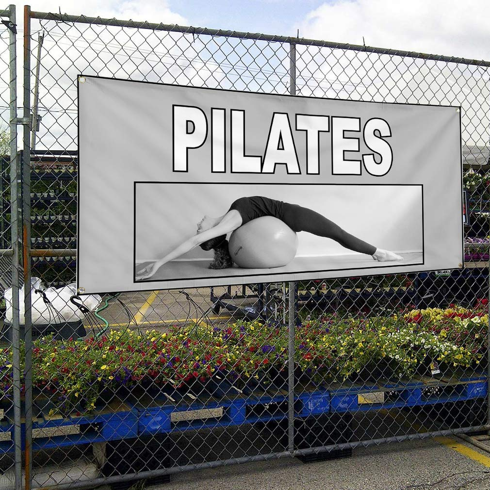 6 Grommets Set of 2 32inx80in Multiple Sizes Available Vinyl Banner Sign Pilates Grey White Health Care Outdoor Marketing Advertising Grey