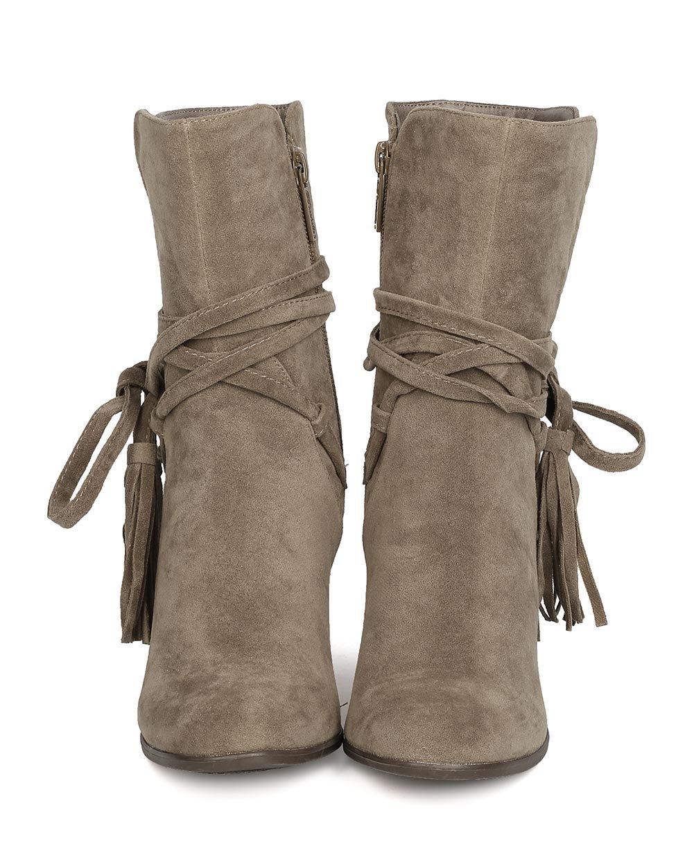 Breckelle's GA27 Women Faux Suede Wraparound Tassel Chunky Heel Bootie - Beige (Size: 7.0) by Breckelle's (Image #4)