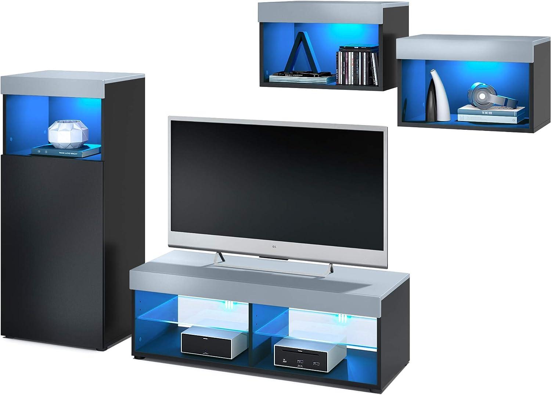Vladon Conjunto de Muebles de Pared Pure, Cuerpo en Negro Mate/Partes Superiores y Paneles en Mezclilla con iluminación LED RVA   Amplia selección de Colores: Vladon: Amazon.es: Hogar