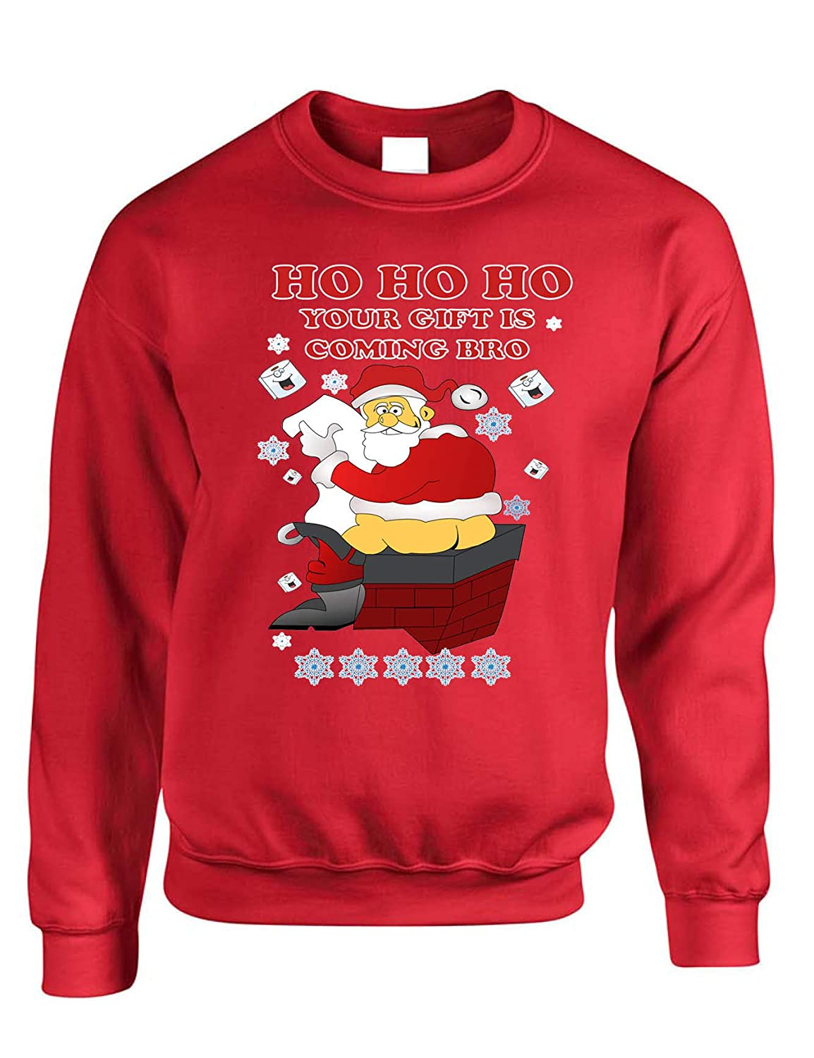 Allntrends Adult Sweatshirt Ho Ho Your Gift is Coming Bro Ugly Christmas Swater