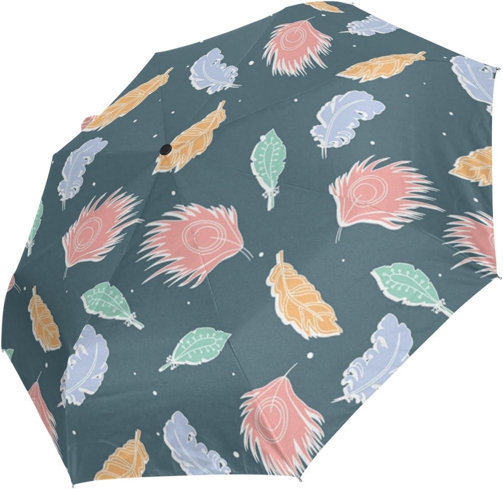 DOENR Flying Feather Compact Travel Umbrella Sun and Rain Auto Open Close Umbrellas Windproof UV Protection Umbrella