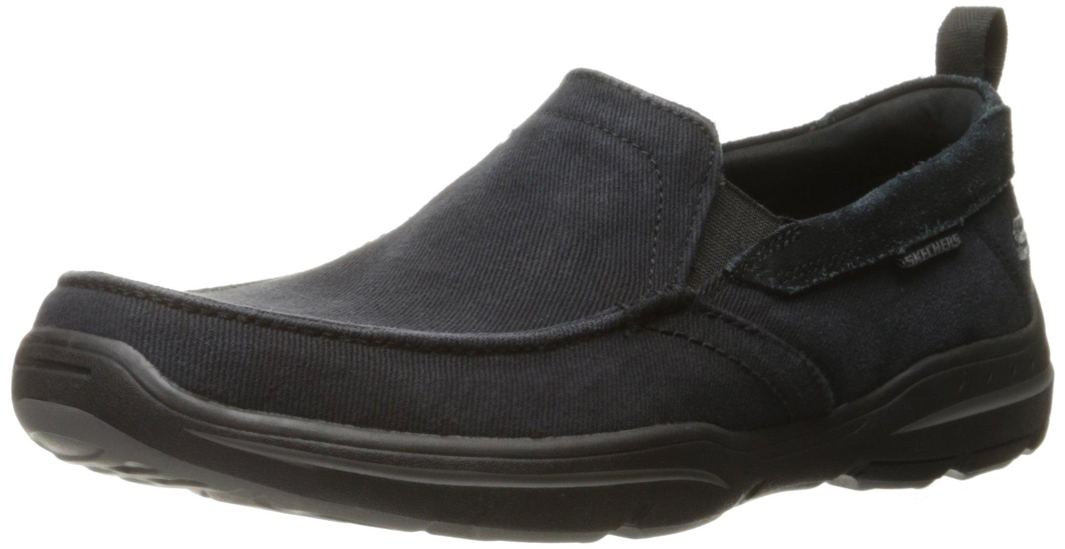 Skechers USA Men's Harper Delen Slip-On Loafer,Black Canvas,10 M US