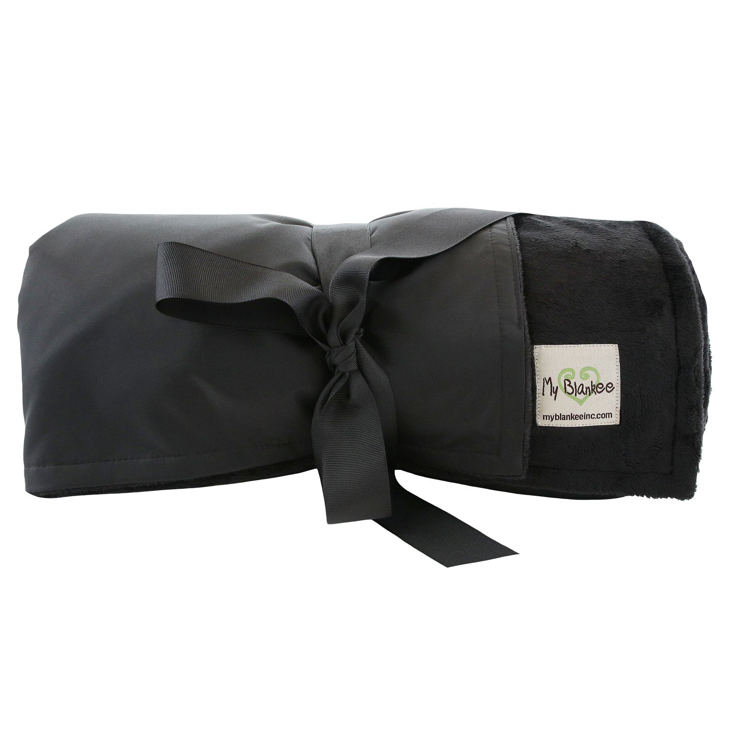 My Blankee Extra Large Picnic & Outdoor Blanket Warm and Soft Minky with Waterproof Backing, Black, 59'' X 85''