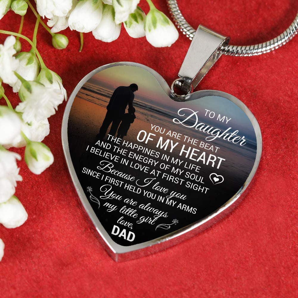 to My Daughter Necklace Love Dad Pendant Silver Shape Heart ZEN DEAL Father and Daughter Necklace Heart Pendant