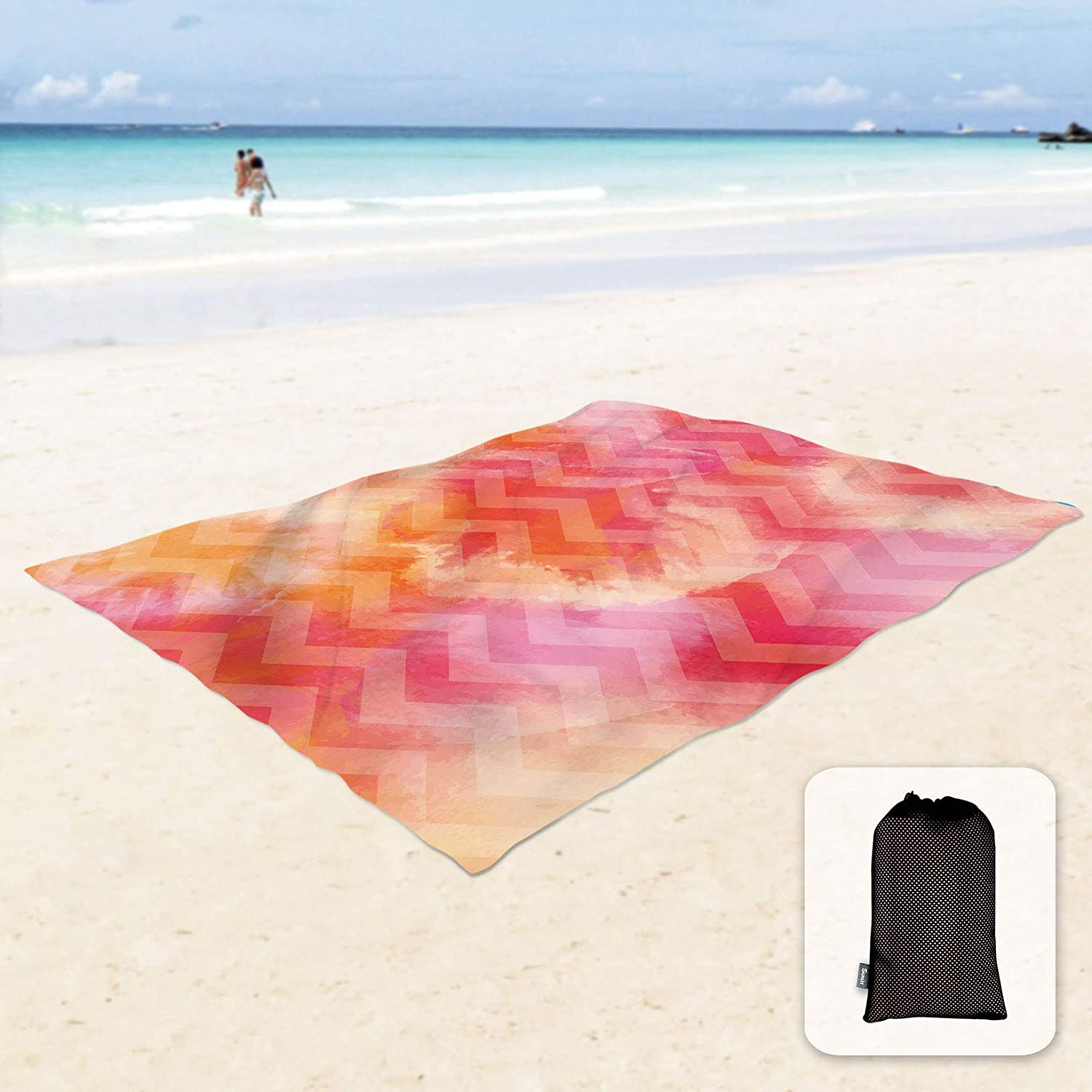 Travel Camping and Outdoor Music Festival Sunlit Silky Soft Sand Proof Beach Blanket Sand Proof Mat with Corner Pockets and Mesh Bag 6 x 7 for Beach Party Pink Zigzag